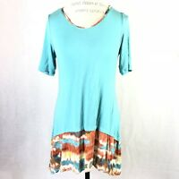LOGO Lori Goldstein Women Tunic Top S Trim Ruffe Boho Aqua High Low Short Sleeve