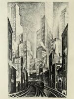 Adriaan Lubbers gravure Lithographie The L Chattam Square New York 1930