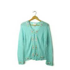 Chadwick's S aqua blue crochet long sleeve cardigan layer top floral applique