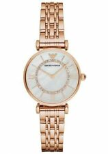 Import Emporio Armani AR1909 Women's Full Rose Gold GIANNI T-BAR Sleek Watch