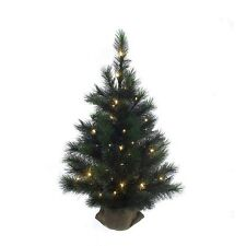KURT ADLER 3' PRE-LIT FROSTED CHRISTMAS TREE w/ BURLAP COVERED BASE