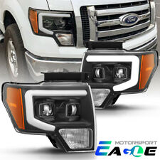 [LED Tube Bar] 2009-2014 Ford F-150 Truck Black Projector Headlights Head Lamps