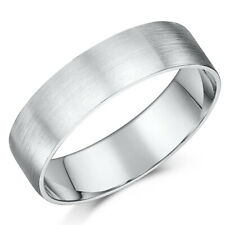 Brushed Palladium Wedding Band Flat Court Wedding Ring 6MM Band