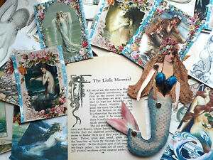 50 Vintage Ephemera Paper Doll Vintage Fairy Mermaid junk Journal Card