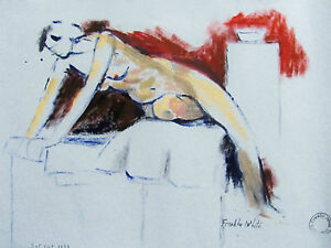 FRANKLIN WHITE - MABEL NUDE - ORIGINAL PAINTING - 1968 -  FREE SHIP IN US  !!!
