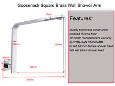 Gooseneck Square Brass Wall Mount Shower Arm