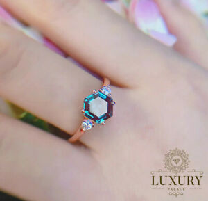 2CT Alexandrite Engagement Ring Hexagon Cut 925 Sterling Silver Wedding Bands