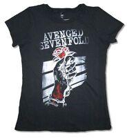 Avenged Sevenfold Rose in Hand Girls Juniors Black T Shirt New Official