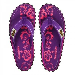 Gumbies ISLANDER Ladies Womens Summer Comfy Canvas Flip Flops Purple Hibiscus