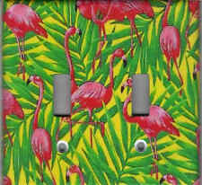 Pink Flamingos In Palms Home Wall Decor Double Light Switch Plate