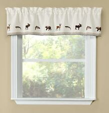 "Woodland Cabin Lodge Wildlife Animals Window Valance, Modern Rustic, 58"" x 12"""