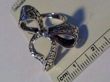 size 7 Sterling Silver 25x24mm XLarge Fancy Bow on 3mm wide band Ring