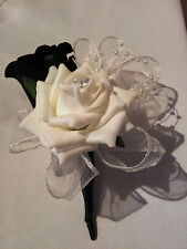 Wedding Double Buttonhole, Ivory, Black, Pearls & Ivory Ribbon Loops