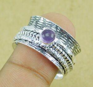 Amethyst Gemstone 925 silver plated Handmade Spinner Ring US Size 10   Z364