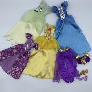 Disney Barbie Doll Dress Replacement Lot Belle Tiana Cinderella Jasmine Rapunzel