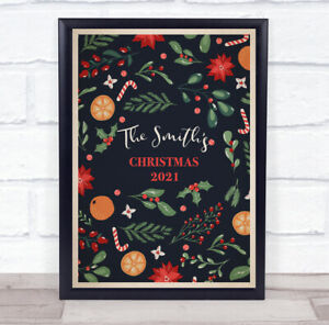 Personalised Oranges Dark Blue Family Name Christmas Event Sign Print