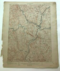 1913 Geological Survey Topographic Map NH Plainfield Hanover White River Juc VT
