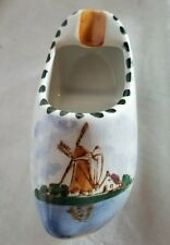 Vintage Delft hand-painted Holland ceramic wooden shoe ashtray Dutch windmill