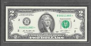 2013 B STAR - $2 UNC * Fancy Birth Year + Date # 00.21.1983 * Replacement Note