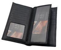 AG Wallets Cowhide Leather Long 23 Credit Card ID & Cash Holder Wallet Black