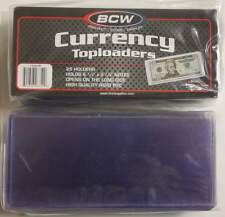 Pack of 25 BCW CURRENCY TOPLOADERS Hard Rigid Holders for Banknotes Dollar Bills