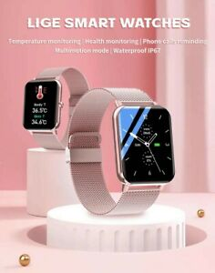 Large Screen Smart Watch Bluetooth ECG Heart Rate Monitor For Android IOS pink