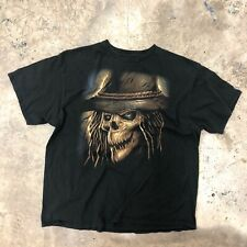Vintage Scull Goth T Shirt Black Short Sleeve Cotton Heavy Metal 2XL
