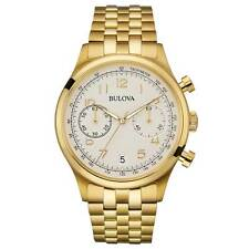 Bulova 97B149 Gent's Grey Dial Yellow Gold Steel Chrono Watch