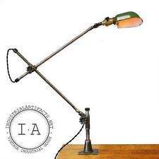 Vintage Industrial OC White Desk Mount Adjustible Work Lamp Green Enameled Shade