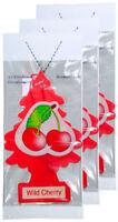 Little Trees Cardboard Hanging Car, Home & Office Air Freshener, Wild cherry-3PK