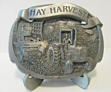 "Case Tractor Square Hay Baler & Wagon ""Hay Harvest"" Pewter Belt Buckle 1990 farm"