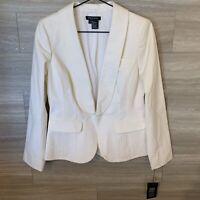 ETCETERA Womens White Blazer Jacket Single Button Sz 8