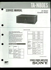 Sony TA-N80ES Stereo Power Amplifier Original Factory Service Guide Manual