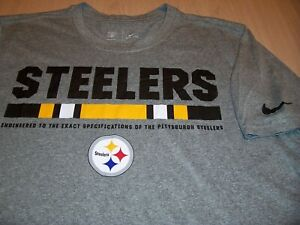 NIKE DRI-FIT PITTSBURGH STEELERS SHORT SLEEVE GRAY T-SHIRT MENS MEDIUM EXCELLENT
