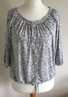 George Size 8 Ladies White Top With Blue Paisley Print Casual Summer Sun Day