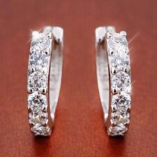 Fashion 925 Sterling Silver Plated Crystal  Single Row Earring Hoop Huggie