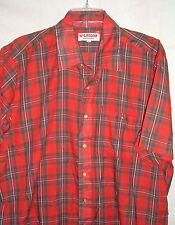Vtg McGregor Sportswear Tartan Plaid Tapered Red Green XL Button Front Shirt
