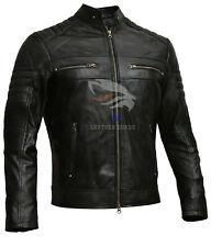 Mens Biker Distressed Brown Black Cafe Racer Genuine Leather Jacket XS S M L XL
