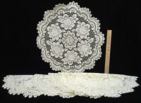 """Rose Doily Doilies Round Ivory Color Heritage Lace 19"""" Set 5 Flower Floral Large"""