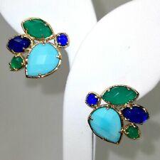 KENDRA SCOTT Blue Green Turquoise Earrings, Teardrop Marquis Ear Posts, Retired