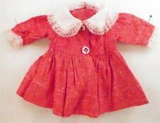 Vintage Doll Dress Red & White for Medium Doll Peter Pan Collar & Lace