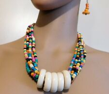 Beaded Necklace And Earring Set 3Pc. Multi Colored African Style