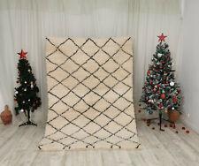 Moroccan Handmade Beni Ourain Wool Carpet 5 x 7 Berber White and black  Rug