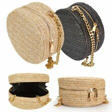Beach Women Beach Bag Hand woven Straw Rattan Round Shoulder Crossbody Handbag