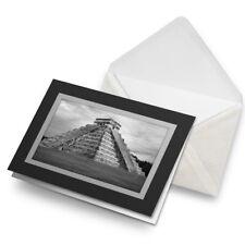Greetings Card (Black) BW - Chichen Itza Temple Maya Mexico  #41553