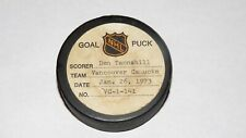 1972-73 Don Tannahill Vancouver Canucks Game Used Goal Scored Puck -Boudrias Ast