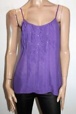 Ladakh Brand Purple Ruffle Pleat Front Singlet Cami Top Size 10 BNWT #SY98