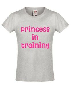 PRINCESS IN TRAINING Girls T-Shirt 3-13 Years Funny Printed Novelty Top Pink