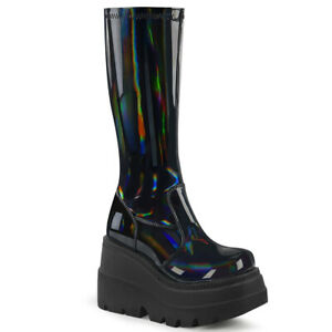 "Demonia SHAKER-65 Black Patent Hologram 4 1/2"" Wedge Platform Knee High Boot"