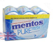 6 Tubs Mentos Chewing Gum Sugar Free Fresh Mint - Blue 6 x 50 Tubs